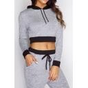 Women's Color Block Crop Long Sleeve Hoodie Sports Pants Casual Co-ords