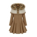 Fashion Slim Fur Hooded Long Sleeve Plain Zip and Button Embellished Coat