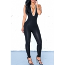 Women Sexy Backless Sleeveless One Pieces Bodycon Long Pants Jumpsuit Catsuit