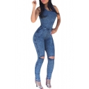Women's Sleeveless Bodysuit Boyfriend Denim Romper Hole Jean Tank Jumpsuit