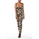 Sexy Spaghetti Straps Sleeveless Camouflage Printed Jumpsuits