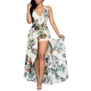 Women's V Neck Floral Chiffon Maxi Dress Overlay Rompers Jumpsuit Playsuit