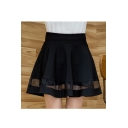 Chic Plain Mesh Hem Mini A-Line Skirt with Shorts inside