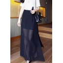 Sexy See Through Mesh Split Side Chiffon Plain Maxi Skirt