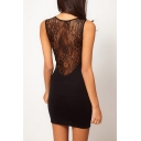 Sexy Lace Patchwork Sleeveless Round Neck Mini Bodycon Dress