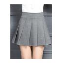Trendy High Waist A-Line Plain Mini Pleated Skirt