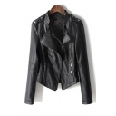 Women's Cool Notched Lapel Long Sleeve Plain Zipper Placket Biker PU Jacket