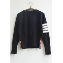 New Stylish Striped in Long Sleeve Button Closure Cuffs and Hem Sweater