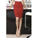 Office Lady High Rise Plain Basic Work Wrap Pencil Midi Skirt