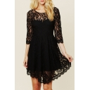 Elegant Lace Floral Pattern Half Sleeve Mini Asymmetric Dress