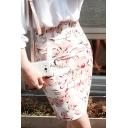 Women's Chic High Rise Floral Print Pencil Mini Skirt