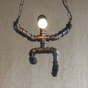 Industrial Meetal Pipe Ceiling Light Aged Bronze Finish Chain Hanging Pendant in Doll Shape