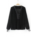 Women's V-Neck Lace Patched Ribbons Sleeve Cuff Casual Velvet Pullover Blouse