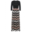 Women's Fashion 3/4 Sleeve Casual Contrast Color Striped Chevron Maxi Dress