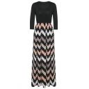 Women's Fashion 3/4 Sleeve Casual Contrast Color Striped Chevron Maxi Dress