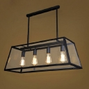 Rustic Lodge Industrial Glass Shade Metal Island Light in Black
