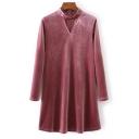 New Stylish Cutout V-Neck Long Sleeve Plain Velvet A-Line Dress