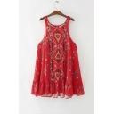 Women's Sleeveless Geometric Floral Printed Round Neck  Mini Tank Dress
