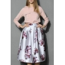 Elegant Chic Floral Printed Midi A-Line Bubble Skirt