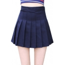 Plain High Waist Zip Side Mini A-Line Pleated Skirt with Button