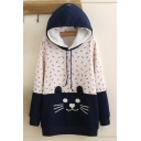 Women's Cat Print Color Block Long Sleeve Casual Basic Hoodie