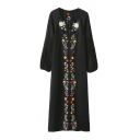 New Embroidery Floral Pattern Tied Neck Lantern Elastic Sleeve Maxi Dress