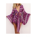 Women's Holiday Plunge Neck Flare Sleeve Knots Front Tribal Print Casual Rompers