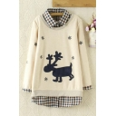 New Stylish Plaid Lapel Deer Snowflake Printed False Two-Piece Pullover Sweatshirt