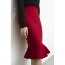 Women's Fashion High Rise Fishtail Hem Knit Plain Pencil Midi Skirt