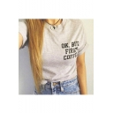 Women's Casual OK,BUT FIRST COFFEE Letter Printed Short Sleeve Tee Top