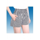 Women's Plus-Size Casual Elastic Waist Striped Shorts