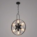 Wrought Iron Matte Black 6 Light Pendant Light with Wheel Shape