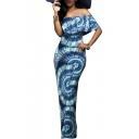 Women's Elegant Boho Printed Off Shoulder Bodycon Party Maxi Dress