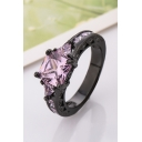 Fashion Women's Zircon Black Gold Ring