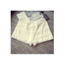 Women's Crochet Lace Ruffle Tiered Elastic Waist Mini Shorts Skort