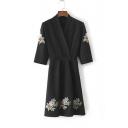 Fashion V-Neck Warp Front Belt Waist Half Sleeve Embroidery Floral Pattern Midi Dress