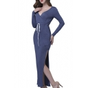 Women's Sexy V-Neck Long Sleeve Drawstring Waist Slit Side Maxi Dress