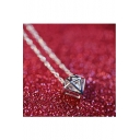 Fashion Rhombus Shape Zircon Insert Pendant Necklace