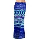 Color Block Printed Fashion Maxi Bodycon Skirt
