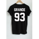GRANDE 93 Letter Printed in Back Short Sleeve Round Neck Tee Top