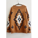 Retro Style Boat Neck Geometric Pattern Color Block Sweater