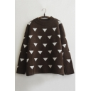 Fashion Contrast Triangle Pattern Long Sleeve Round Neck Pullover Sweater