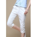 Summer Linen Fashion Cotton Casual Drawstring Waist Capris