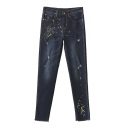 Women's New Printed Ripped Broken Mid Waist Jeans