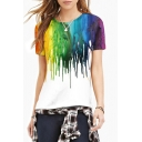 Women's Fashion Color Block Digital Print Round Neck Short Sleeve Basic T-Shirt