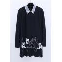Fashion Cat Printed Beaded Lapel Scallop Hem Midi Shirt Dress for Winter