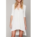 Casual Scoop Neck Half Sleeve Plain High Low Hem T-Shirt Dress