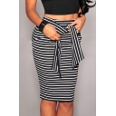 Women's Fashion Tie Waist Striped Print Bodycon Midi Skirt