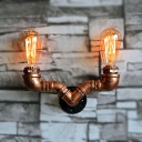 Industrial Novel Aged Copper Finish Iron Pipe Style Wall Sconces