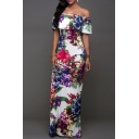 Women's Elegant Floral Off Shoulder Bodycon Party Maxi Dress